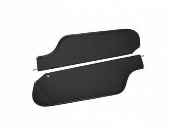 SUNVISOR SET, Black, Perforated Grain, 2 Pin Style (Incl 1 Pin), repro