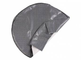 TIRE COVER, Gray and Black Houndstooth, w/o hardboard, repro
