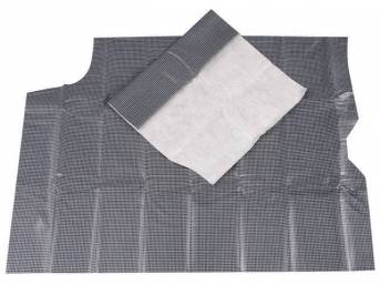 TRUNK MAT, Vinyl, Gray and Black Houndstooth, 2-piece, vinyl top w/ white fleece back, non-OE replacement style repro
