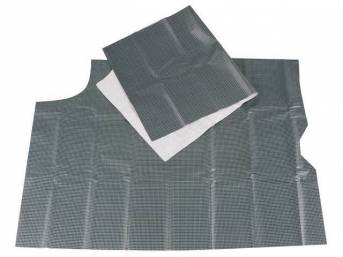 TRUNK MAT, Vinyl, Aqua and Black Houndstooth, 1-piece, vinyl top w/ white fleece back, non-OE replacement style repro