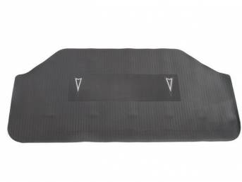 TRUNK MAT, Accessory, molded rubber, black w/ two silver Pontiac *Arrowhead* marques, will req trimming for spare tire / jack support, repro