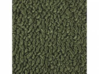 CARPET, MASS BACKED RAYLON WEAVE, DARK IVY GREEN WITH 2 IVY GREEN HEEL PADS