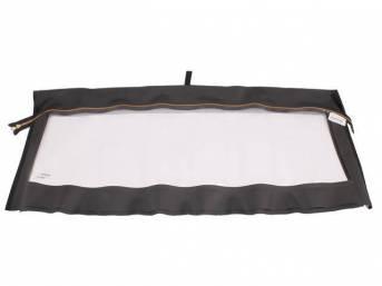CONVERTIBLE REAR WINDOW, Plastic, EZ-On, Black W/ Brass Zipper