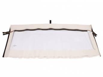CONVERTIBLE REAR WINDOW, Plastic, EZ-On, White W/ Brass Zipper