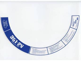 DECAL, AIR CLEANER, 351-2V REGULAR FUEL, D3ZF-9C611-AA