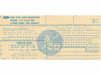 CARD, INTERIOR, EXTENDED WARRANTY, 1970