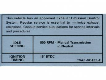 DECAL, Engine Emissions, 800 rpm idle, 16?