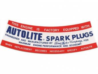 DECAL, AIR CLEANER, AUTOLITE SPARK PLUG