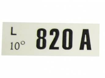 DECAL, ENGINE, ENGINE ID CODE, 820A