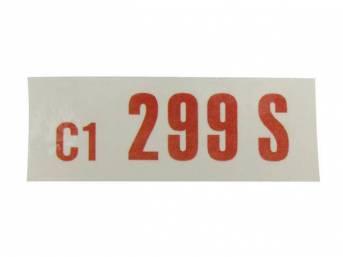 DECAL, ENGINE, ENGINE ID CODE, 299S, 16, C1