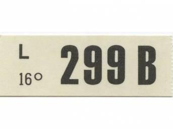 DECAL, ENGINE, ENGINE ID CODE, 299B, 16, C1