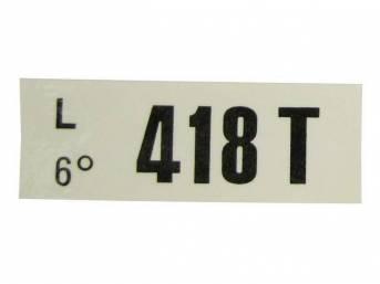 DECAL, ENGINE, ENGINE ID CODE, 418T