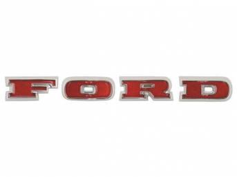 EMBLEM, Grille, *Ford*, wide groove letters, set of