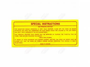 Decal, Six Pack Air Cleaner Special Instructions, Correct Material And Screen Printed As Original, Officially Licensed Product By Chrysler Llc