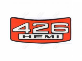 Decal, 426 Hemi Head, Air Cleaner,  Correct Material And Screen Printed As Original, Officially Licensed Product By Chrysler Llc
