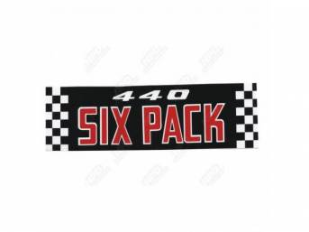 Decal, 440 Six Pack, Air Cleaner, Correct Material And Screen Printed As Original, Officially Licensed Product By Chrysler Llc