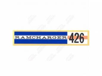 Decal, Ramcharger 426, Valve Cover Decal, Correct Material And Screen Printed As Original, Officially Licensed Product By Chrysler Llc