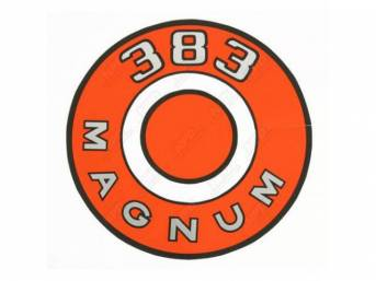 Decal, 383 Magnum, Orange, Air Cleaner Correct Material And Screen Printed As Original, Officially Licensed Product By Chrysler Llc