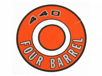 Decal, 440 Four Barrel, Orange, Air Cleaner Correct