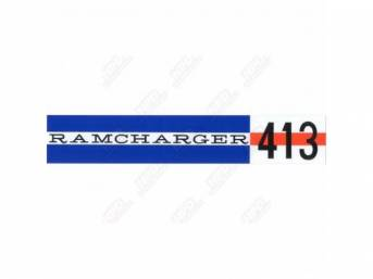 Decal, Ramcharger 413, Valve Cover, Correct Material And Screen Printed As Original, Officially Licensed Product By Chrysler Llc