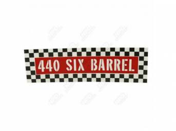 Decal, 440 Six Barrel, Air Cleaner, Correct Material And Screen Printed As Original, Officially Licensed Product By Chrysler Llc