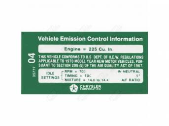 Decal, Emission, Correct Material And Screen Printed As Original, Officially Licensed Product By Chrysler Llc