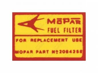 Decal, Canister Fuel Filter, Correct Material And Screen Printed As Original, Officially Licensed Product By Chrysler Llc