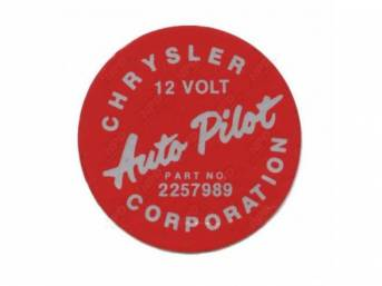 Decal, Auto Pilot Cruise Control, Housing, Correct Material And Screen Printed As Original, Officially Licensed Product By Chrysler Llc