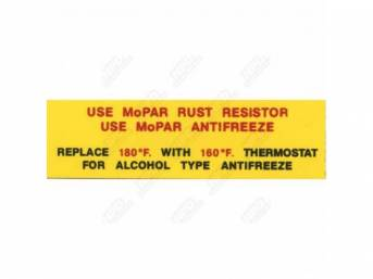 Decal, Rust Resistor / Antifreeze, Correct Material And Screen Printed As Original, Officially Licensed Product By Chrysler Llc