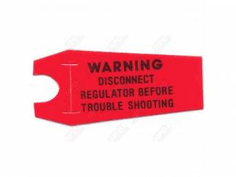 Decal, Alternator Trouble Warning Tag, Correct Material And Screen Printed As Original, Officially Licensed Product By Chrysler Llc