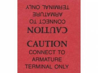 Decal, Generator Caution Warning Tag, Correct Material And Screen Printed As Original, Officially Licensed Product By Chrysler Llc