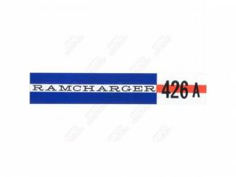 Decal, Ramcharger 426a, Valve Cover, Correct Material And Screen Printed As Original, Officially Licensed Product By Chrysler Llc
