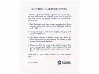 Sleeve, Seat Belt Instructions Sleeve, Correct Material And Screen Printed As Original, Officially Licensed Product By Chrysler Llc