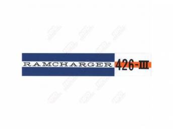 Decal, Ramcharger 426 Iii, Valve Cover, Correct Material And Screen Printed As Original, Officially Licensed Product By Chrysler Llc