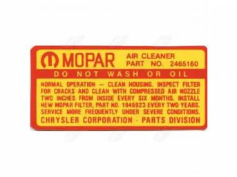 Decal, 383-4v Air Cleaner Service Instructions,  Correct Material And Screen Printed As Original, Officially Licensed Product By Chrysler Llc