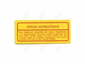 Decal, Fresh Air Hood Special Instructions, Correct Material And Screen Printed As Original, Officially Licensed Product By Chrysler Llc