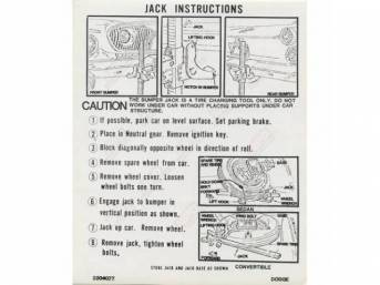 Decal, Jack Instructions, Correct Material And Screen Printed As Original, Officially Licensed Product By Chrysler Llc
