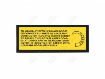 Decal, Manually Open Hidden Head Lights, Correct Material And Screen Printed As Original, Officially Licensed Product By Chrysler Llc