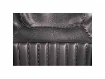 Upholstery Set, Front Buckets, Black, Dlx Style, W/
