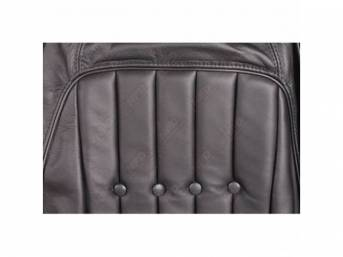 Upholstery Set, Front Buckets, Black, Leather Style, W/