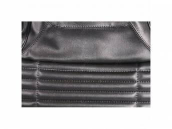 Upholstery Set, Front Buckets, Black, W/ Coachman Grain
