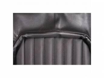 Upholstery Set, Front Buckets, Black, W/ Ranger Grain Vinyl Inserts, W/ Oxford Grain Vinyl Skirts