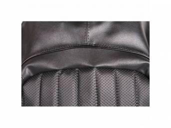 Upholstery Set, Front Buckets, Black, W/ Empire Grain Vinyl Inserts, W/ Coachman Grain Vinyl Skirts