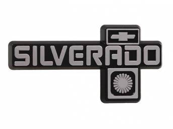 "EMBLEM, Dash Panel, ""SILVERADO"", Chrome lettering and designs, Incl fasteners, Repro"
