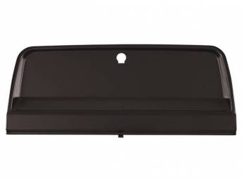 DOOR, Instrument Panel Glove Compartment, Black, EDP coated, features a pre-cut lock cylinder hole and front recess for emblem, does not incl hinge, repro