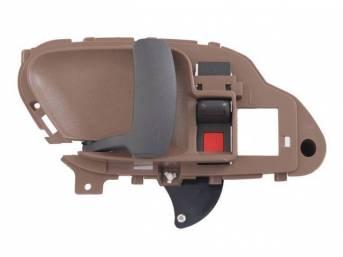 HANDLE, Front Door, inside, brown housing w/ black lever and door lock knob, LH, repro ** For beige housing w/ black lever and knob, see p/n K-16345-95K  **