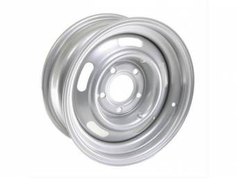 WHEEL, 5 Slot Rally, 15 inch O.D. X 6 inch width, 5 X 5 inch bolt circle, 3 3/4 inch back spacing, metallic silver finish, US-made repro