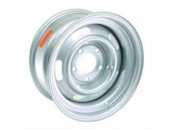 WHEEL, 5 Slot Rally, 15 inch O.D. X 7 inch width, 5 X 5 inch bolt circle, 4 inch back spacing, metallic silver finish, US-made repro