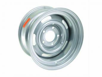 WHEEL, 5 Slot Rally, 15 inch O.D. X 8 inch width, 5 X 5 inch bolt circle, 4 inch back spacing, metallic silver finish, US-made repro
