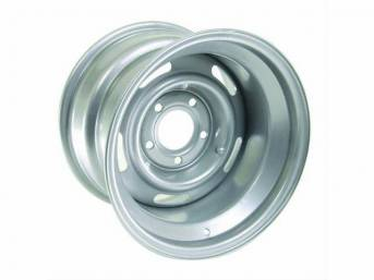 WHEEL, 5 Slot Rally, 15 inch O.D. X 10 inch width, 5 X 5 inch bolt circle, 4 inch back spacing, metallic silver finish, US-made repro